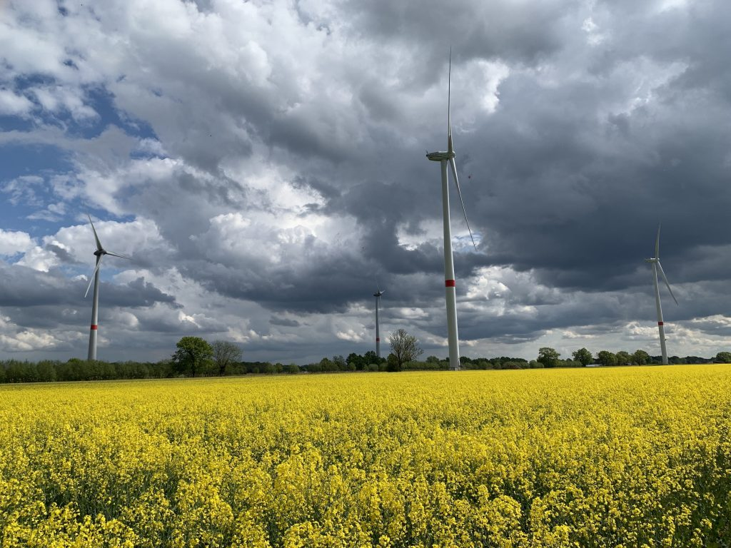A windpark in the southeastern part of Hamburg. On top there are dramatic dark clouds shifting in front of a blue sky, on the bottom there is a field of canola in full yellow bloom. Inbetween four wind turbines are turning. Picture credit: Jens Heidorn/Net-OHG